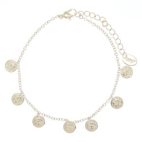 Silver Coin Charm Anklet,