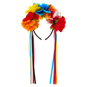 Rainbow Day of The Dead Floral Headband,