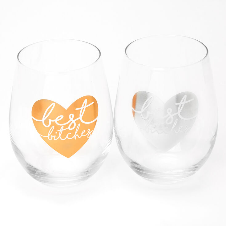 Best Friends Best Bitches Heart Wine Glasses Set - 2 Pack,
