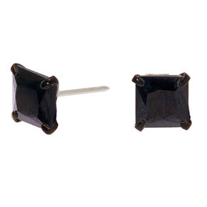 Black Cubic Zirconia Square Stud Earrings - 6MM,