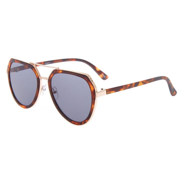 Tortoiseshell Outlined Aviator Sunglasses - Brown,