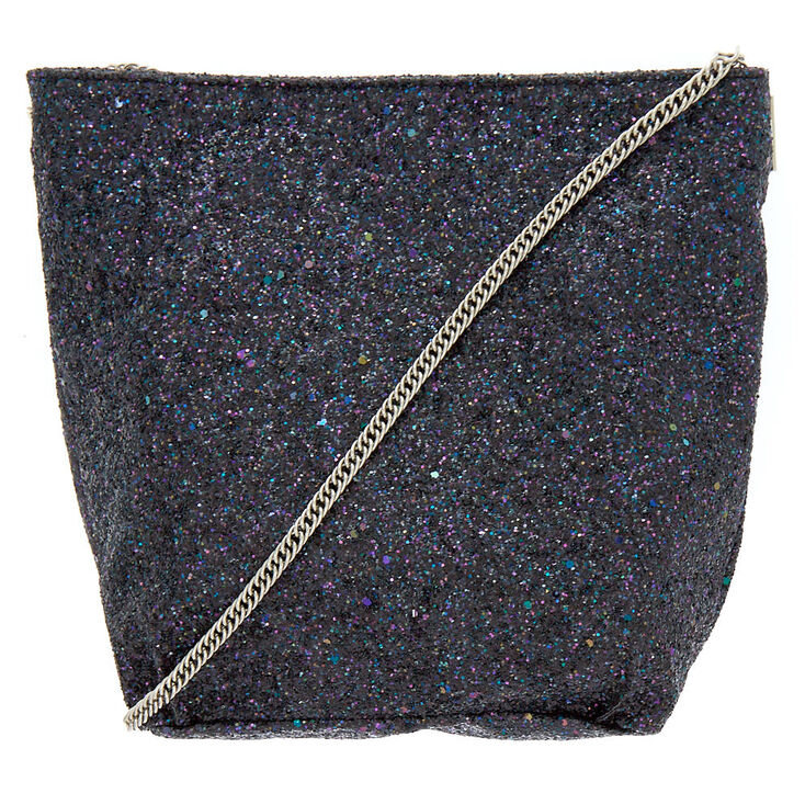 Mini Glitter Tote Crossbody Bag - Black,