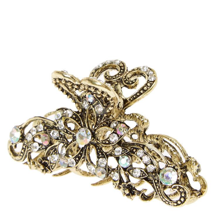 Burnished Gold & Crystal Filigree Vintage Hair Claw,