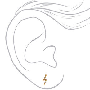 Gold Lightning Bolt Stud Earrings,