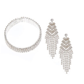 Chevron Crystal Earrings & Bracelet Set,