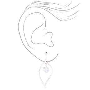 "Cubic Zirconia 1.5"" Twist Clip On Drop Earrings,"