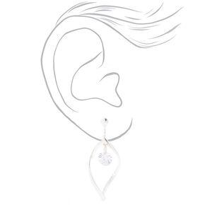"""Cubic Zirconia 1.5"""" Twist Clip On Drop Earrings,"""