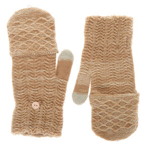 Knit Fingerless Gloves With Mitten Flap - Oatmeal,
