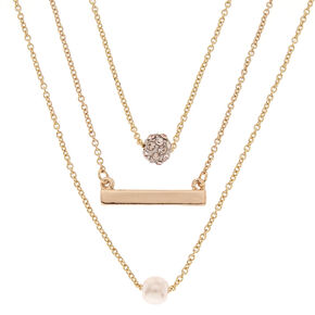 Gold Tone Small Charm Necklace Set,