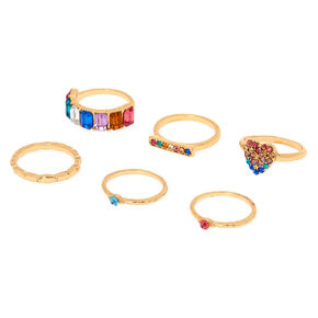 Gold Rainbow Assorted Ring Set - 6 Pack,