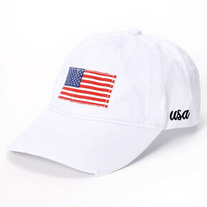 American Flag Baseball Cap - White,