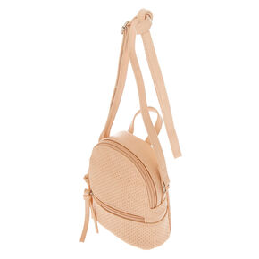 Perforated Mini Backpack Crossbody Bag - Pink,