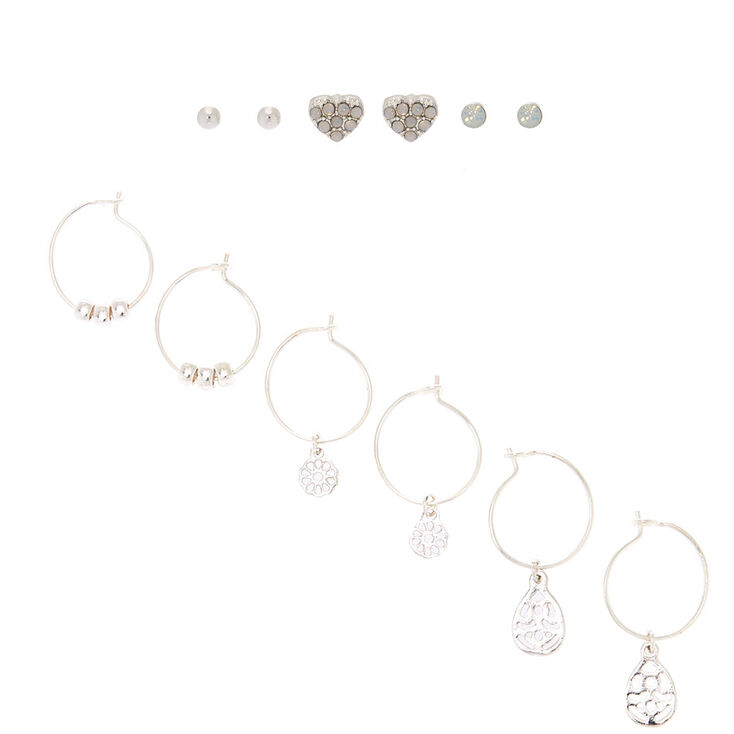 Silver Mixed Earring Set - 6 Pack,