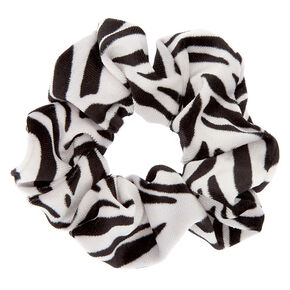 Medium Zebra Velvet Hair Scrunchie,