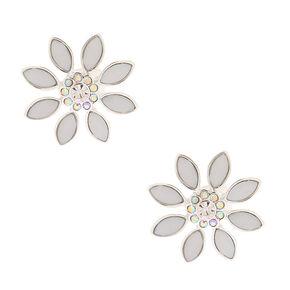 Silver Opal Crystal Flower Clip On Stud Earrings,