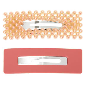 Beaded Matte Rectangle Snap Hair Clips - Blush Pink, 2 Pack,