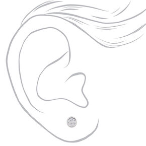 Sterling Silver 5MM Cubic Zirconia Caged Earrings,
