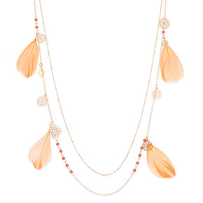 Gold Filigree Feather Multi Strand Necklace - Coral,