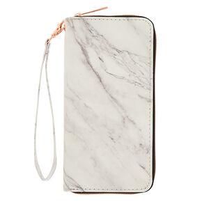 Marble Zipper Wristlet - White,