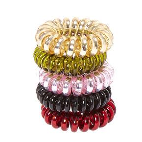Burgundy & Olive Metallic Coiled Hair Ties,