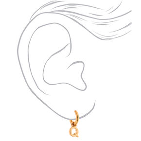 Gold 10MM Initial Huggie Hoop Earrings - Q,
