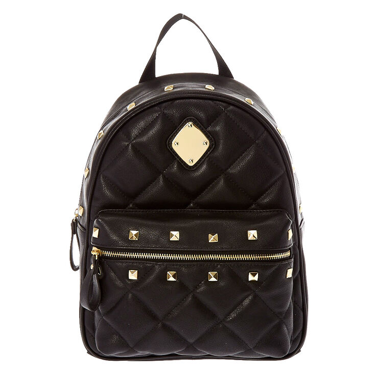 Faux Leather Studded Medium Backpack - Black,
