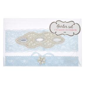 Embellished Lace Garter Set - Blue, 2 Pack,