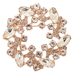Gold Tone & Faux Crystal Wreath Brooch Pin,