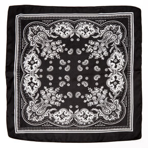 Paisley Satin Bandana Headwrap - Black,