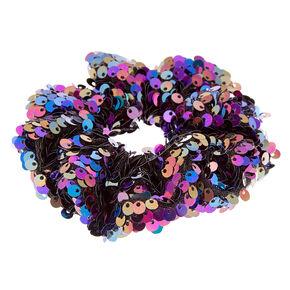 Black Space Sequin Hair Scrunchie,