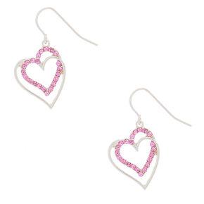 """Silver 1"""" Crystal Heart Drop Earrings,"""