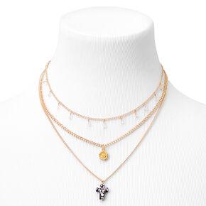 Gold Floral Cross Multi Strand Necklace - Black,