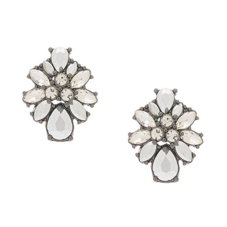 Hematite Ornate Stud Earrings,