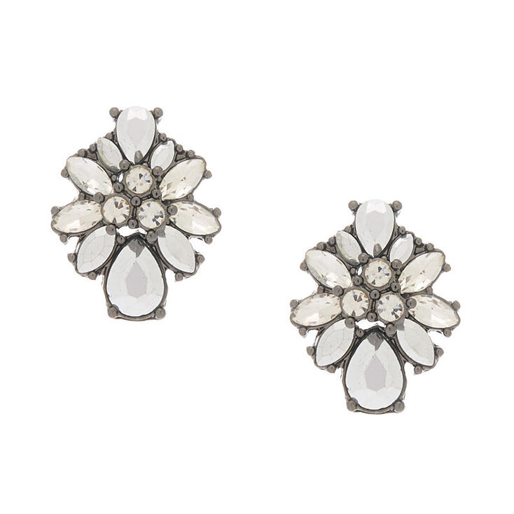Hematite Ornate Stud Earrings,