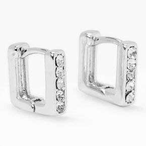 Silver 10MM Embellished Square Huggie Hoop Earrings,
