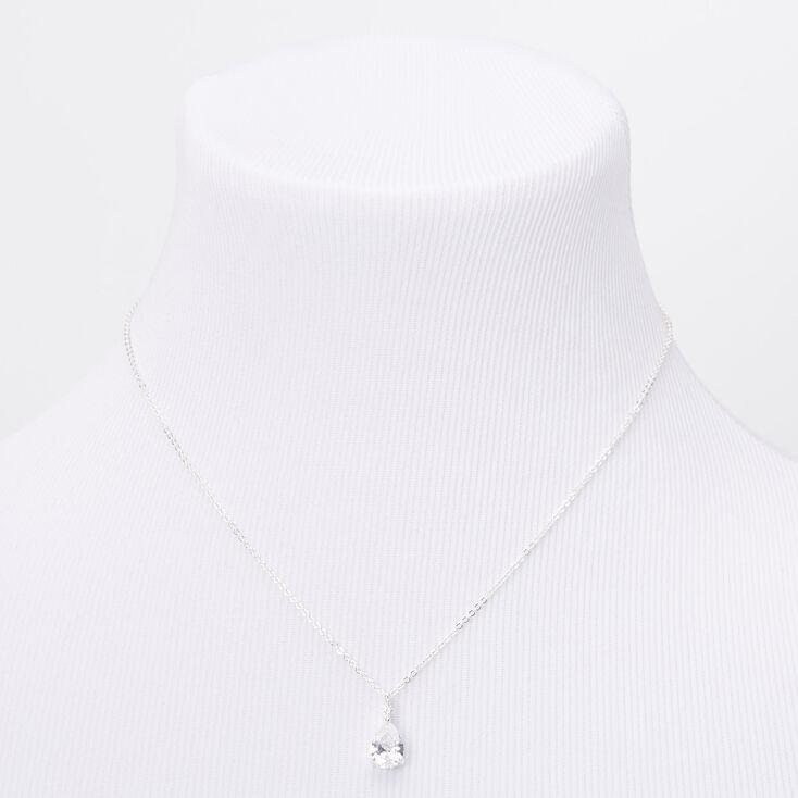 Silver Cubic Zirconia Single Teardrop Rhinestone Pendant Necklace,