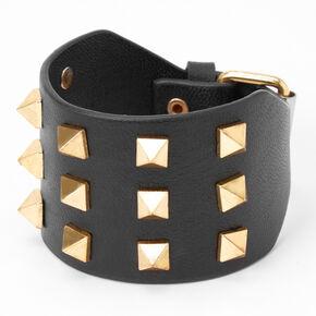 Gold Studded Wrap Bracelet - Black,