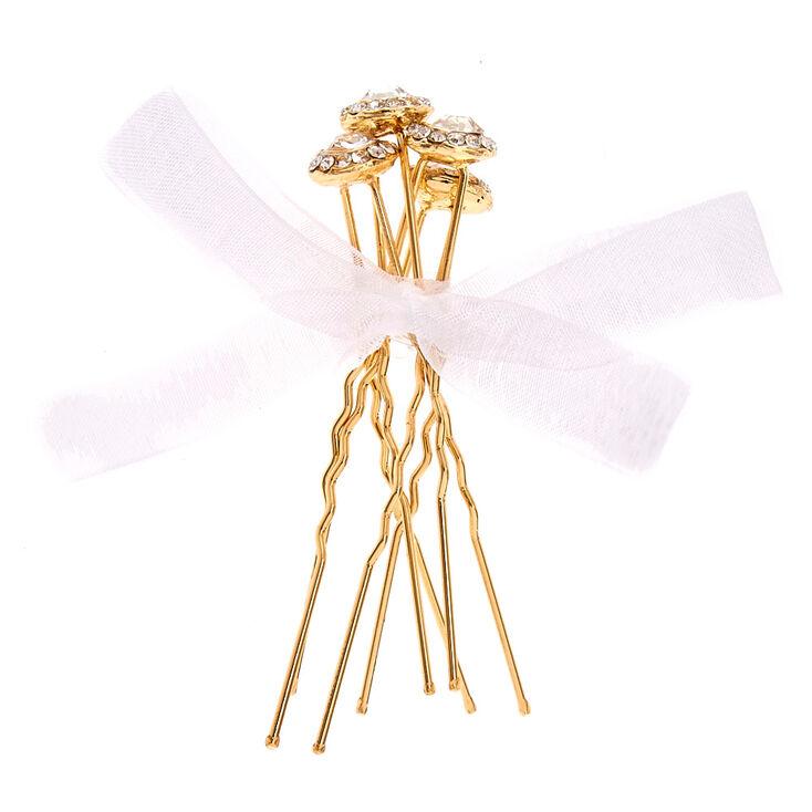 Crystal Halo Gold Tone Bobby Pins,