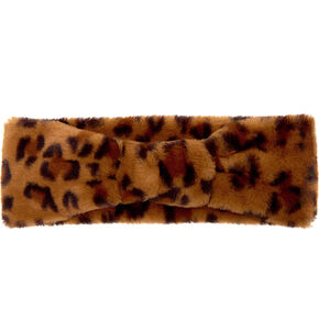 Plush Leopard Ear Muff Headwrap,