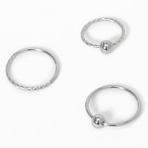 Silver Swirl Ball Nose Rings - 3 Pack,
