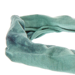 Tie Dye Teal & Black Knotted Headwrap,