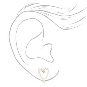 Silver Open Heart Clip On Stud Earrings,