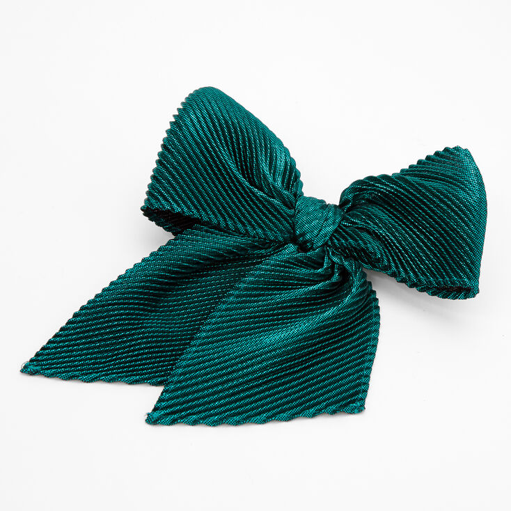 Pleated Sequin Hair Bow Clip - Emerald,