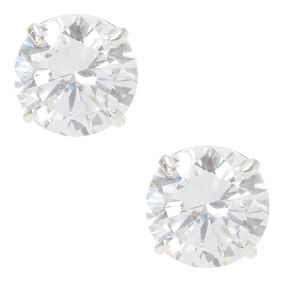 Sterling Silver Cubic Zirconia Circle Cut Studs,