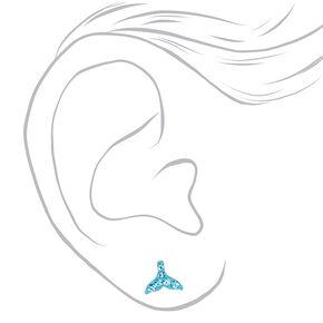 Sterling Silver Embellished Mermaid Fin Stud Earrings - Blue,