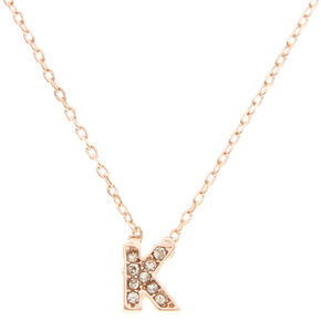 "Rose Gold-Tone ""K"" Initial Pendant Necklace,"