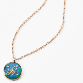 Gold Round Mood Zodiac Pendant Necklace - Scorpio,