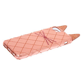Rose Gold Cat Quilted Phone Case - Fits iPhone 6/7/8/SE,