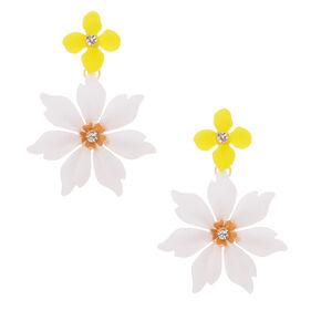 "Gold 2"" White & Yellow Petal Drop Earrings,"