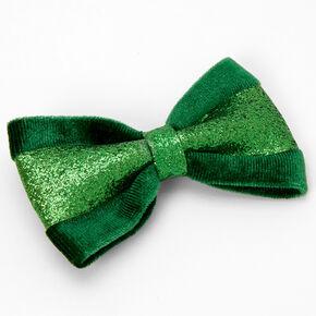 Glitter Velvet Hair Bow Clip - Green,